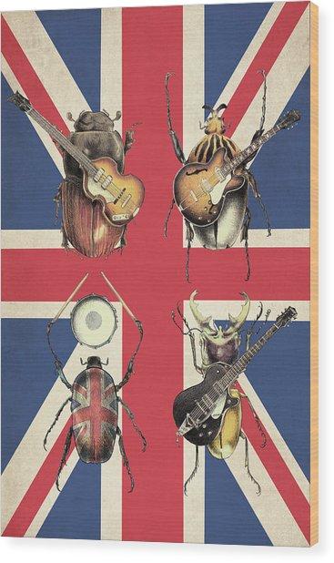 Meet The Beetles - Union Jack Wood Print