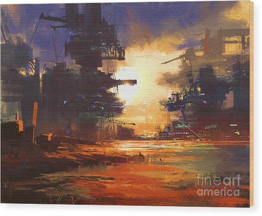 Mega Structure In Sci-fi City At Wood Print