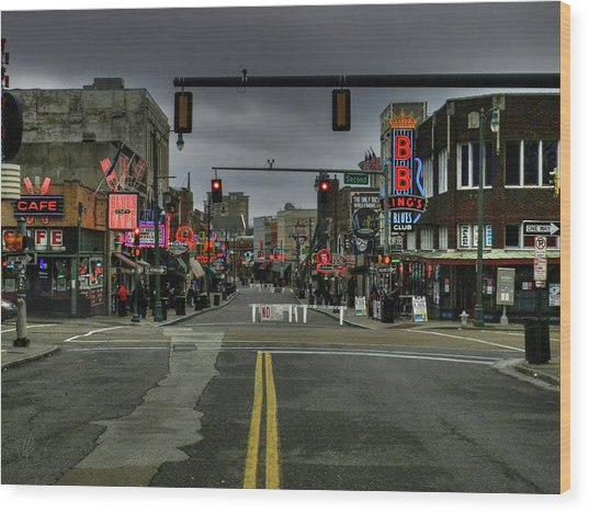 Wood Print featuring the photograph Memphis - Beale Street 001 by Lance Vaughn