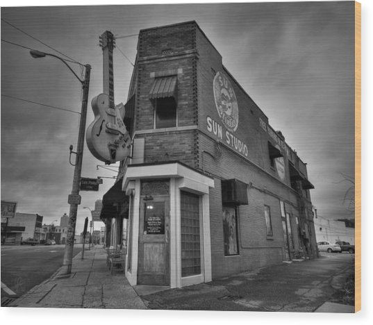 Wood Print featuring the photograph Memphis - Sun Studio 004 Bw by Lance Vaughn
