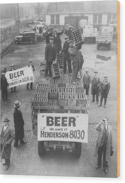 Men Atop Beer Delivery Truck W. Sign Re Wood Print by Time Life Pictures