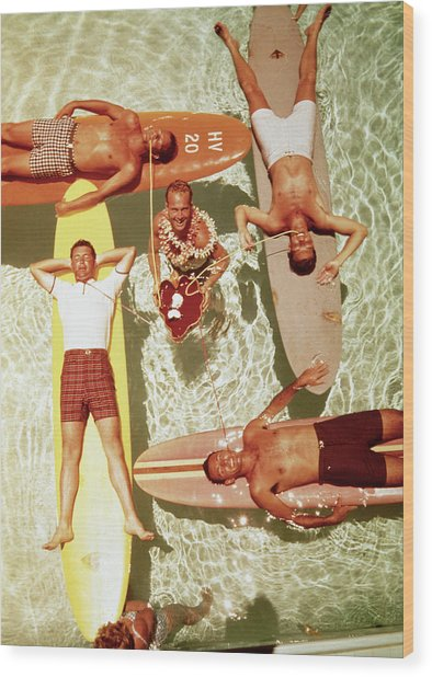 Men On Surfboards In Pool Sipping Drinks Wood Print