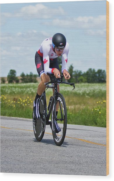 Wood Print featuring the photograph Mens Individual Time Trial No 1 by Brian Carson