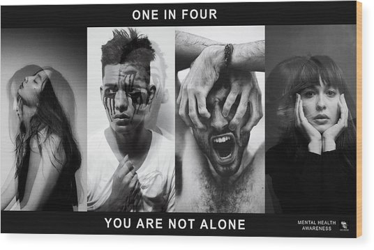Wood Print featuring the digital art Mental Health Awareness - You Are Not Alone by ISAW Company