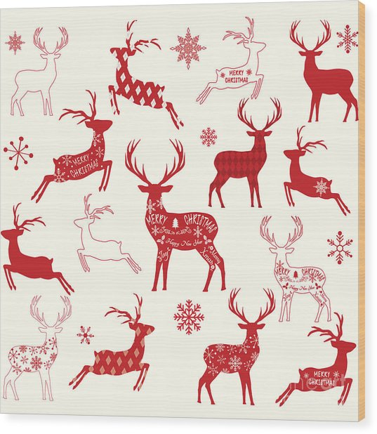 Merry Christmas Reindeer,reindeer Wood Print by Alexaz