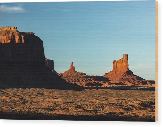 Mesa At Sunset, Monument Valley Tribal Wood Print by Adam Jones