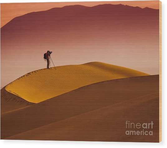 Mesquite Flat Dunes At Death Vakkey Wood Print