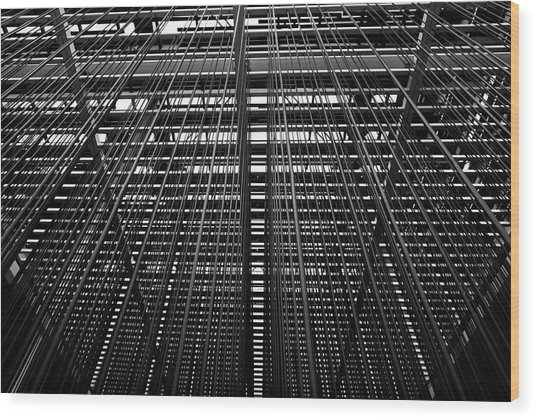 Metal Lines Wood Print