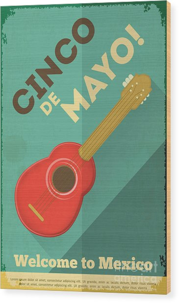 Mexican Guitar. Posters In Retro Style Wood Print