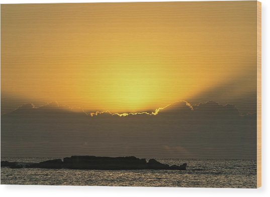 Mexico Ocean Sunrise Wood Print