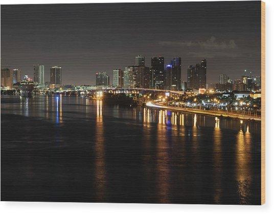 Miami Lights At Night Wood Print