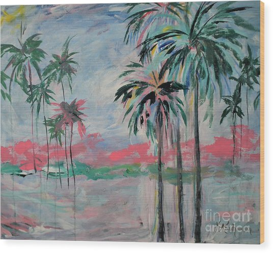 Miami Palms Wood Print