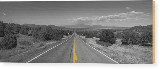 Middle Of The Road Wood Print