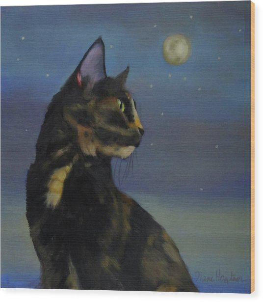 Mighty Tortie Wood Print by Diane Hoeptner