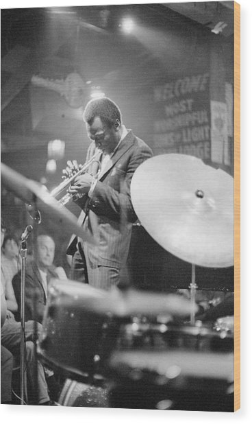 Miles Davis Performing In Nightclub Wood Print by Bettmann