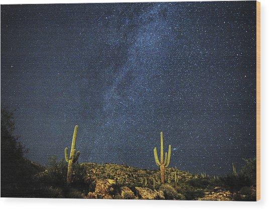 Milky Way And Cactus Wood Print