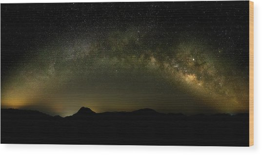 Milky Way Arch Panorama Over Tianping Mountain And Ridge-line Wood Print