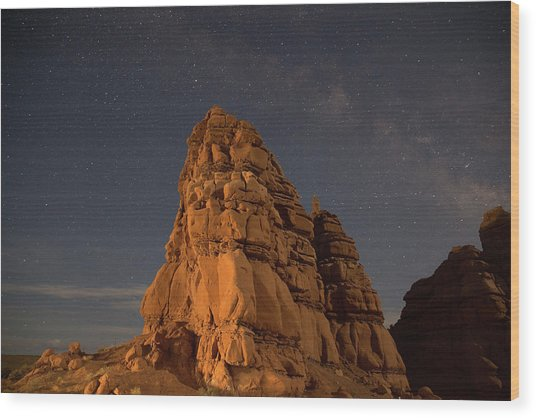 Milky Way On The Rocks Wood Print