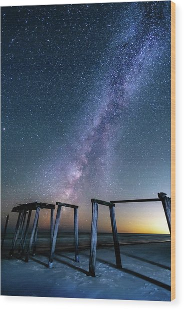 Milky Way Over Gulf Pier Wood Print