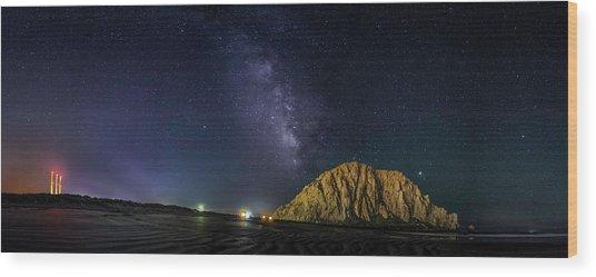 Milky Way Over Morro Rock Wood Print