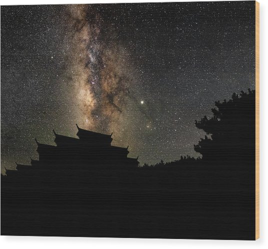 Milky Way Over The Dark Temple Wood Print