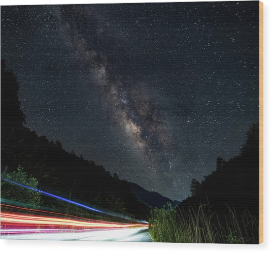 Milky Way Over The South Road Wood Print