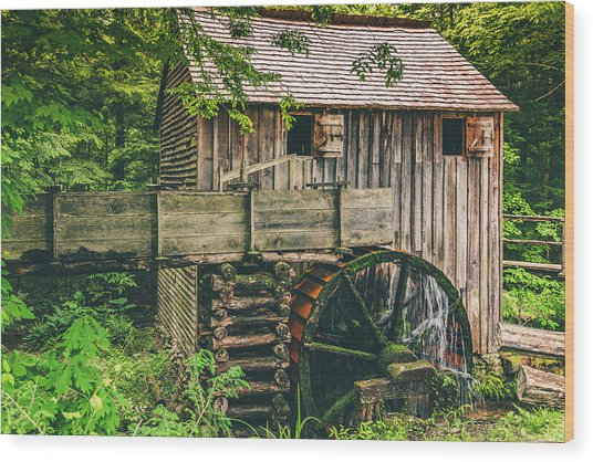 Mill At Cades Cove Wood Print