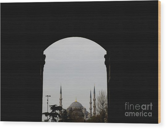 minarets in the city for the prayer of the Muslim religion Wood Print
