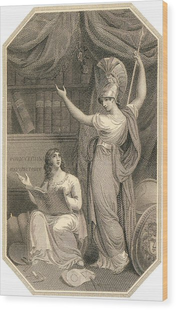 Minerva Directing Study To The  Attainment Of Universal Knowledge Wood Print