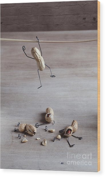 Miniature With Peanut People Trying To Wood Print