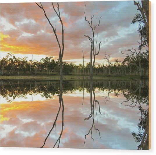 Wood Print featuring the photograph Minnamoolka Sunset Reflection 3 by Joan Stratton