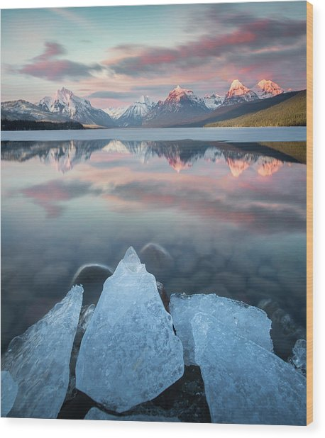 Mirrored Reflection / Lake Mcdonald, Glacier National Park  Wood Print