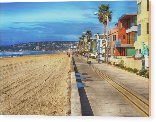 Mission Beach Boardwalk Wood Print
