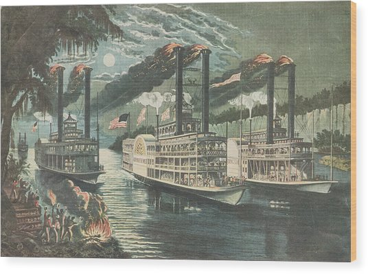 Mississippi Rivals Wood Print by Hulton Archive