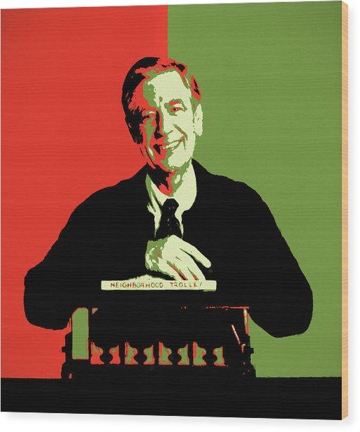 Mister Rogers Pop Art Wood Print