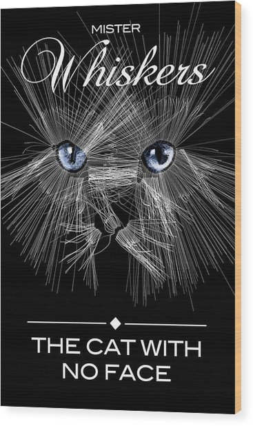 Wood Print featuring the digital art Mister Whiskers by ISAW Company