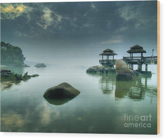 Misty Morning As Seen Over Rocks Wood Print