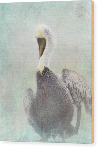 Misty Morning Pelican Wood Print