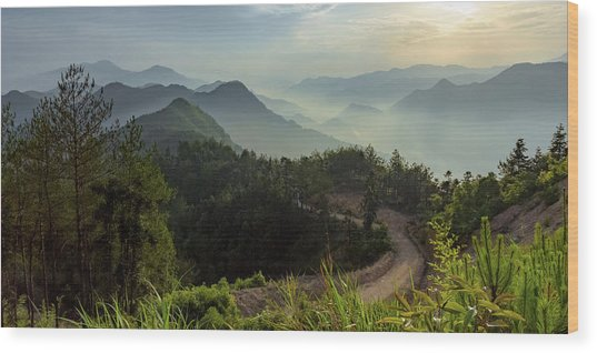 Misty Mountain Morning Wood Print