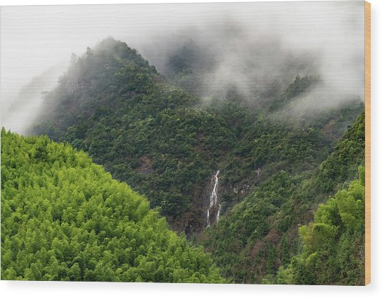 Wood Print featuring the photograph Misty Mountain Waterfall by William Dickman