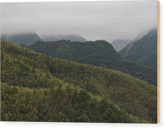 Wood Print featuring the photograph Misty Mountains I by William Dickman