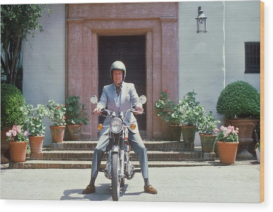 Mitchell On Motorcycle Wood Print by Slim Aarons
