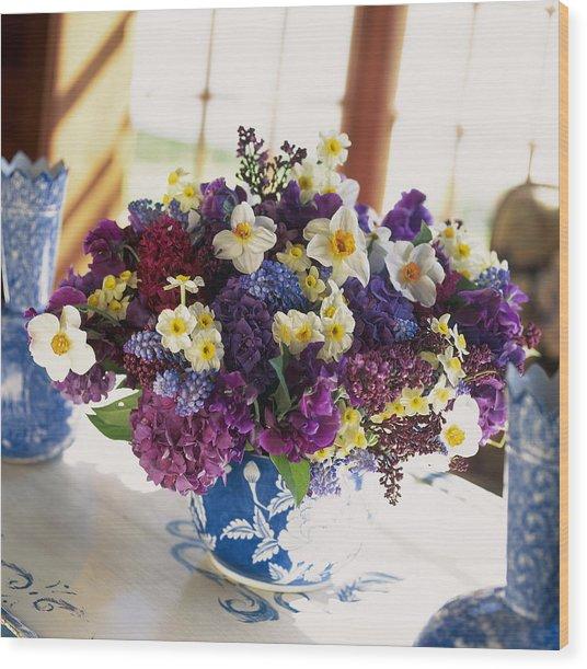 Mixed Posy Vase Arrangement Wood Print