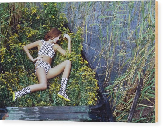 Model In A Fish Scale Patterned Bikini And Boots Wood Print by Gordon Parks