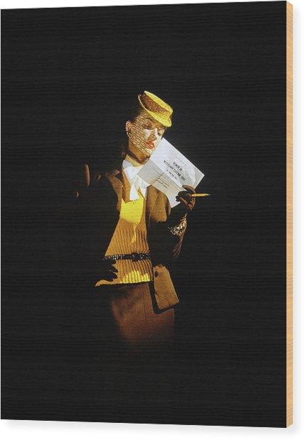 Model In A Wool Suit By Traina-norell Wood Print by John Rawlings