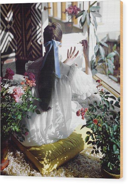 Model In An Iris Nightgown Wood Print