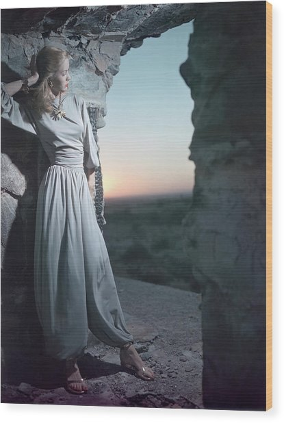 Model In Claire Mccardell Trouser Set At Twilight Wood Print by Serge Balkin