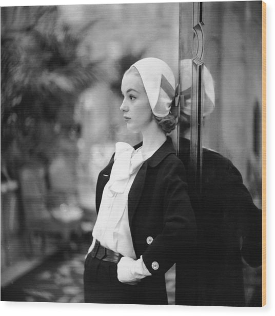 Model In Suit Wood Print by Gordon Parks