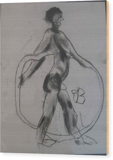 Wood Print featuring the drawing model named Guy by AJ Brown