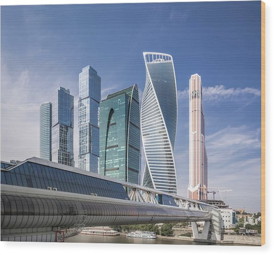 Modern Skyscrapers In Moscow Wood Print by Yongyuan Dai